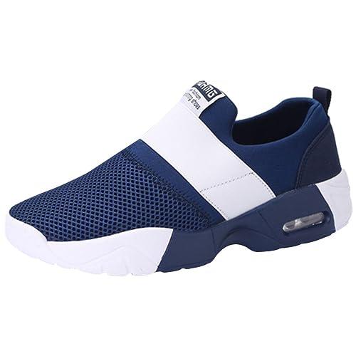9041729e2e5 wealsex Baskets Sans Lacets Mesh Respirant Sports Running Fitness Gym  Chaussures de Multisports Outdoor Chaussures de