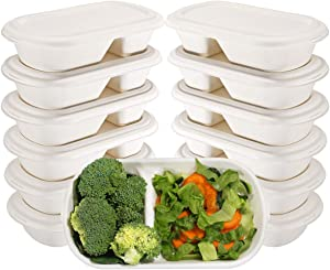 WELLIFE 60 Pack Biodegradable Food Containers, Two-Compartment Compostable Food Containers with Lids, Biodegradable Microwaveable Takeout Boxes 26OZ, Bento Boxes Made of Sugar Cane Fibers