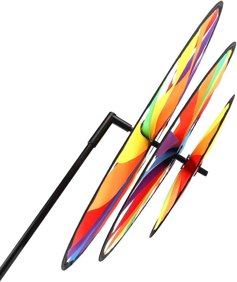 Pangding Molino de Viento de la Rueda Triple decoraci/ón al Aire Libre de la Fiesta de jard/ín del Juguete de los ni/ños del molinete de Viento del Arco Iris Multicolor