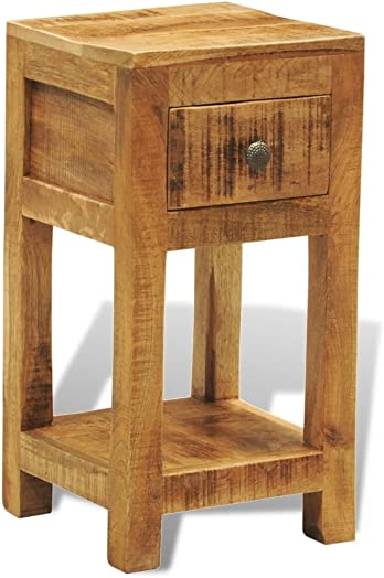 Festnight Wood End Side Table Bedside Nightstand with Drawer and Storage Shelf for Bedroom Living Room Home Furniture 12 x 12 x 23 L x W x H