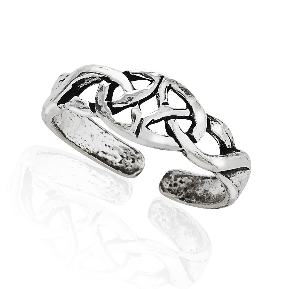 925 Sterling Silver Symbolic Celtic Knot Open Ended Polished Band Toe Ring, 5mm