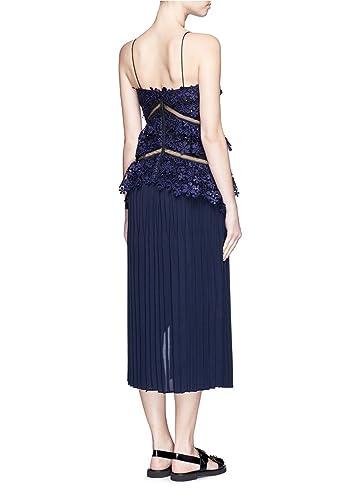 f3b6155348c2 Self-Portrait Pleated Lace Double Peplum Midi Dress Navy womens UK size 14:  Amazon.co.uk: Clothing