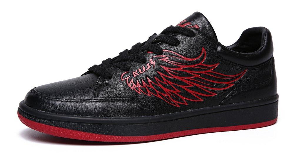UB-SOULSFENG Mens Classic Skateboard Anti-Skid Shoes Leather Printed Captain Tsubasa Walking Shoes 12 D(M) US|Black