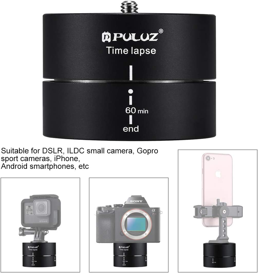 JINGZ 360 Degrees Panning Rotation 60 Minutes Time Lapse Stabilizer Tripod Head Adapter Durable