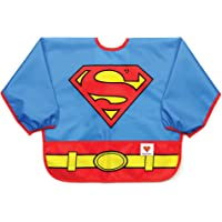 Bumkins DC Comics Sleeved Baby Toddler Bib|Waterproof, Washable, Stain and Odor Resistant, 6 to 24 Mths+, Superman
