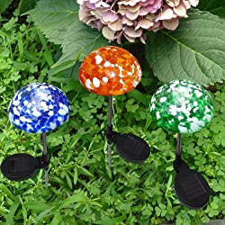 SET OF 3 Color-Changing Art Glass Mushroom Solar Powered Path Light by SOLAscape