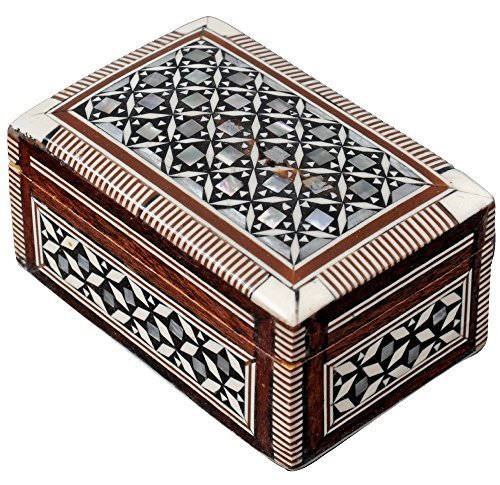 Egyptian Mosaic Jewelry Trinket Box Mother of Pearl BX2 by CraftsOfEgypt