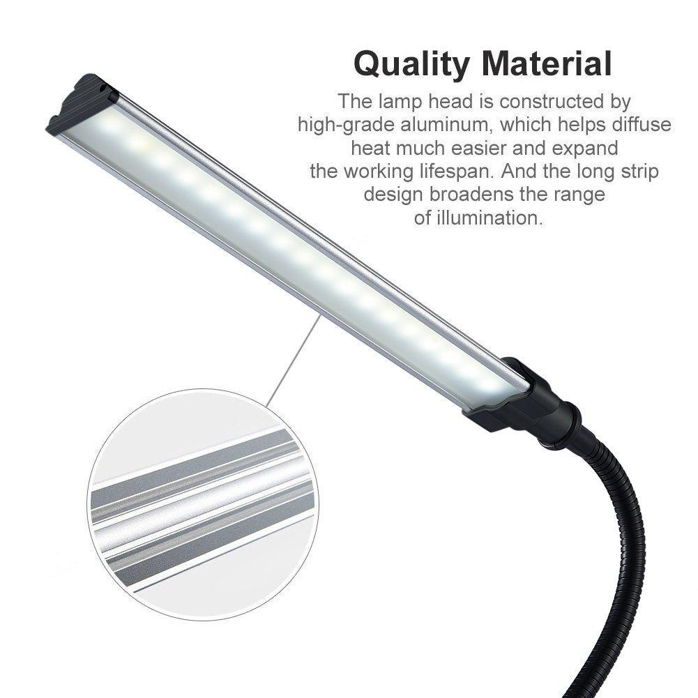 LED Clip Lamp, Portable Lighting Eye-Care Clip Desk Light Powered by USB ( Clip-On Light )-Black Color