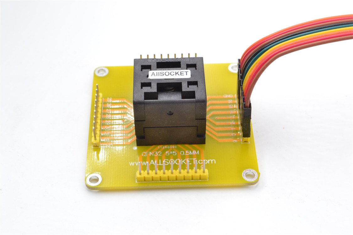ALLSOCKET QFN32 MLF32 WLCSP32 QFN32-to-DIP32 Programming adapter Testing Socket Pitch 0.5mm IC Size 5x5 QFN32(5x5)-0.5 CP IC550-0324-007-G NEW HEADER PINS SOLDERING(QFN32(5x5)-0.5 CP)