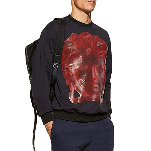 d0ee2f38185a Amazon.com  Versace Digital Medusa Face Sweatshirt, Black W Red (4 ...