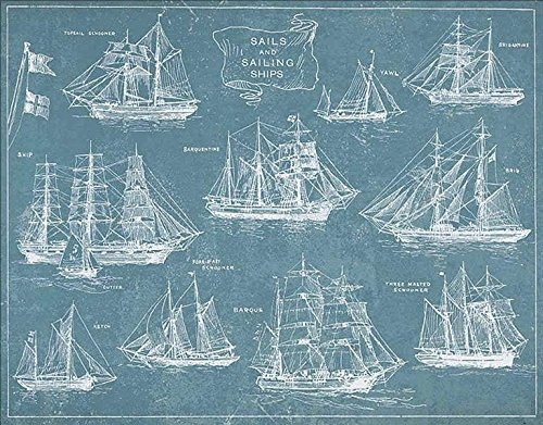 Sailing Ships by Wild Apple Blueprint Boat Vintage Print Poster