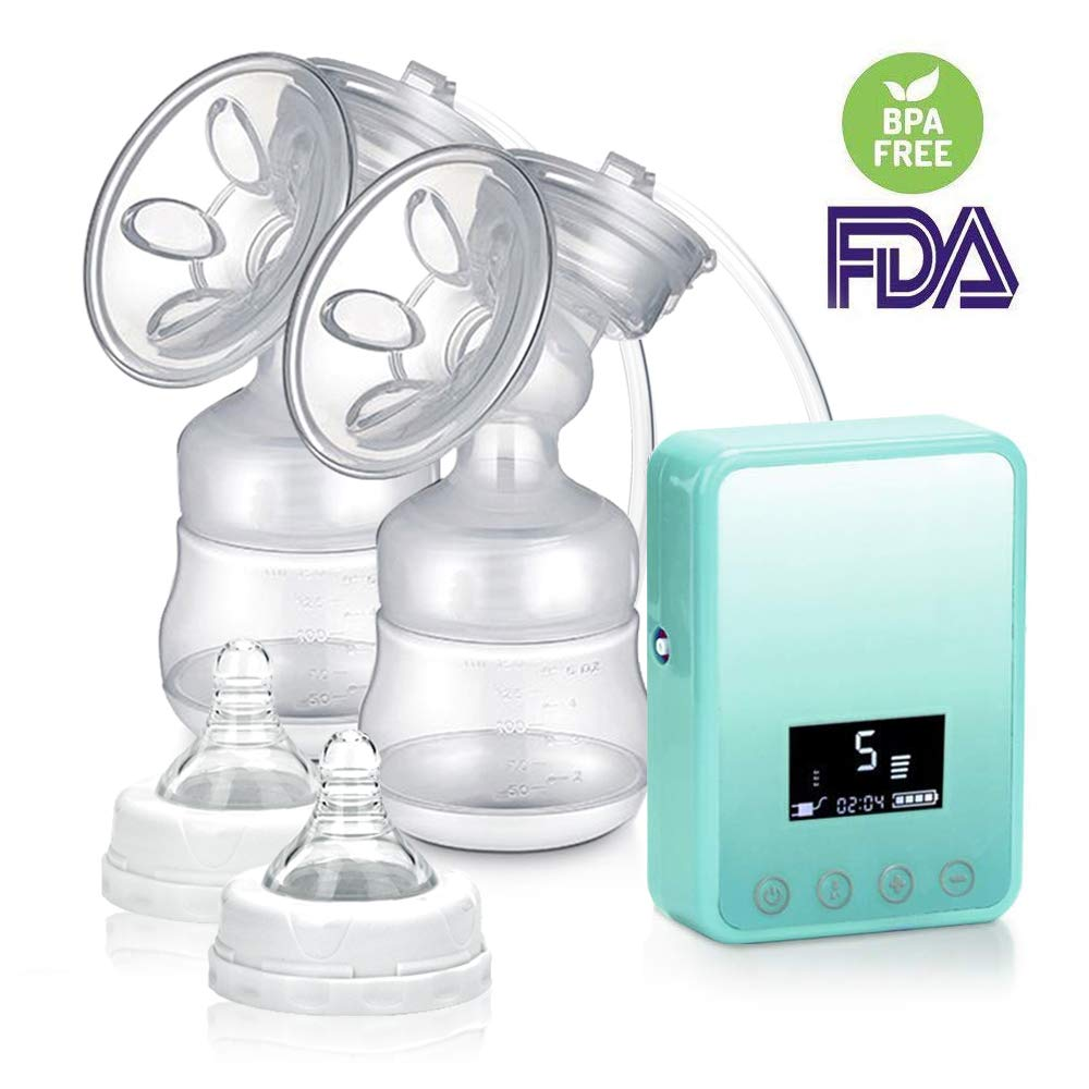 Double Electric Breast Pump, TopDirect Portable Rechargeable Dual Breastfeeding Silicone Breast Pumps Massage with Digital LCD Display