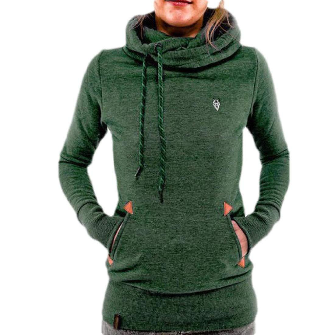 Domple Womens Plus Size Long Sleeve Pockets Fleece Pullover Hooded Sweatshirts