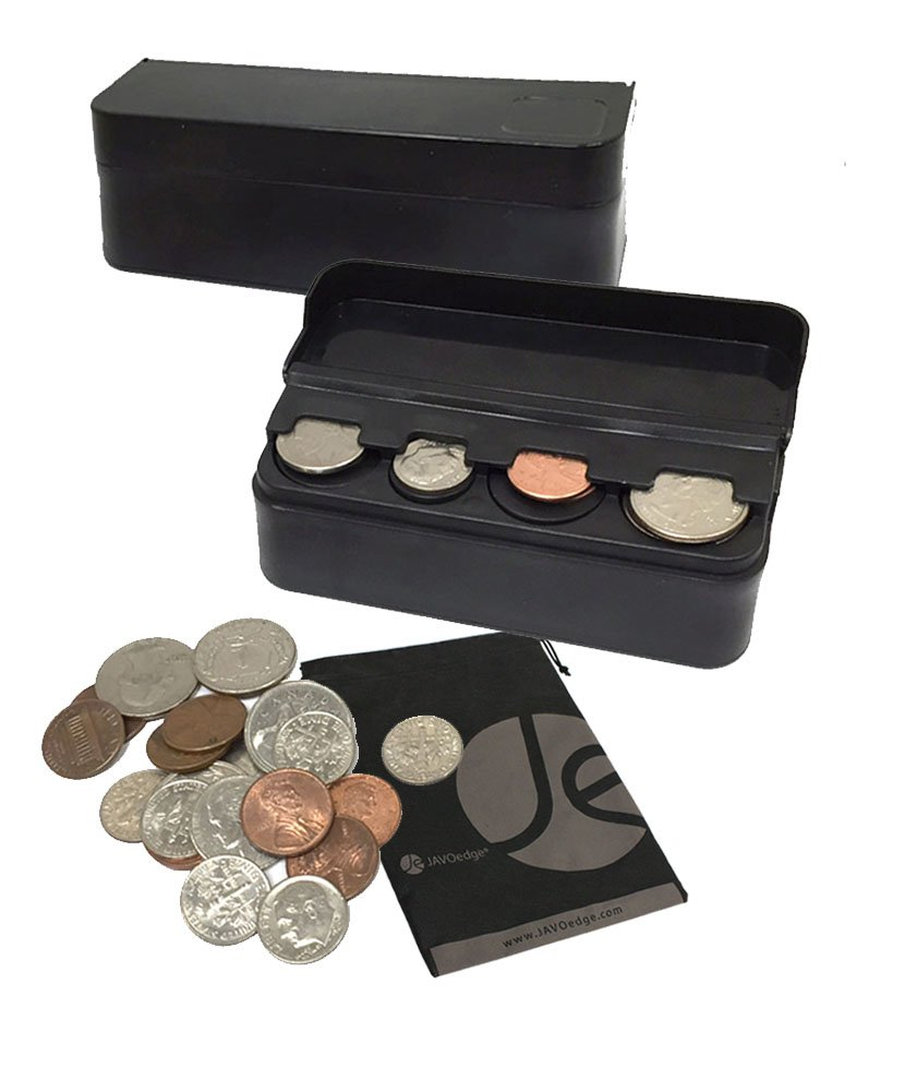 JAVOedge JE (2 Pack) Coin (Quarter, Dimes,etc) Change Holder Storage Sorter Case with Lid for Car, Truck, RV Interior Accessories by JAVOedge