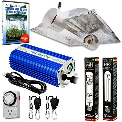 Yield Lab Horticulture 400w HPS MH Grow Light Cool Tube Hood Reflector Kit Easy Setup Full Spectrum System For Indoor Plants And Hydroponics – Free Timer and 12 Week Grow Guide DVD Dvd Lab Kit