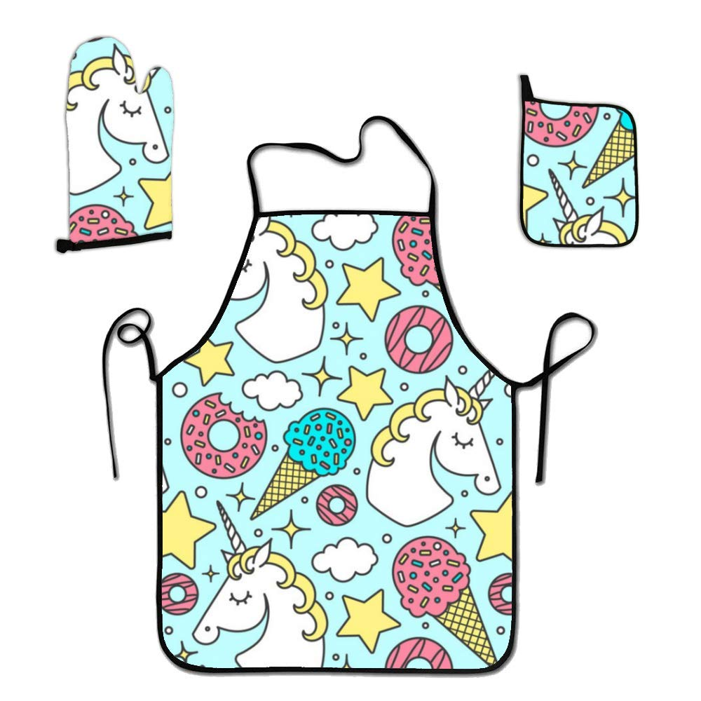 liubajsdj Kids Apron Set for Girls Cooking and Baking, 3 Pcs Unicorn and Ice Cream Chef Set with Oven Mitt, and Apron for Toddler Chef