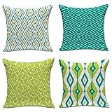 ZONK Geometric Decorative Throw Pillow Cover Sofa Car Office Pillowcase Cushion Cover 18x18inch, Set of 4