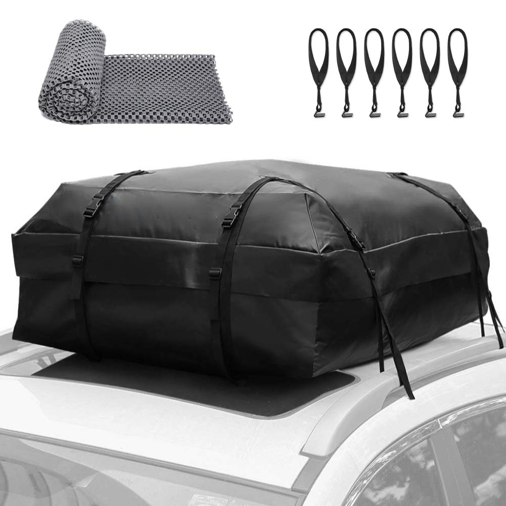 Rooftop Cargo Carrier Bag 100% Waterproof Car Roof Top Bag Cargo Luggage Bag-Fits All Cars with/Without Rack ,6 Door Hooks and Protective Mat Included (17 Cubt) by PAUTO-P