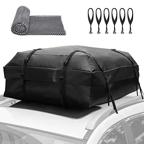 MIDABAO Thickened 20 Cubic Waterproof Duty Car Roof Top Carrier-Car Cargo Roof Bag Car Roof Top Carrier Easy to Install Soft Rooftop Luggage Carriers with Wide Straps 20 Cubic Feet