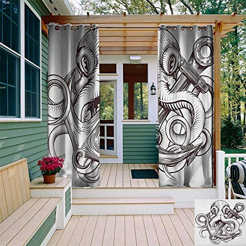 leinuoyi Anchor, Outdoor Curtain Ends, Monochrome Octopus Tattoo Art Style Naval Sketch Mythical Kraken Beast Design, for Patio Waterproof W96 x L108 Inch Brown and White