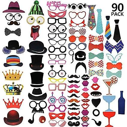 Kiwill 89Pcs DIY Photo Booth Props Atrezzo Favorecer Incluyendo Cómica Divertida Creativa Bigotes Gafas Pelo Arcos Sombreros Labios para el Partido ...