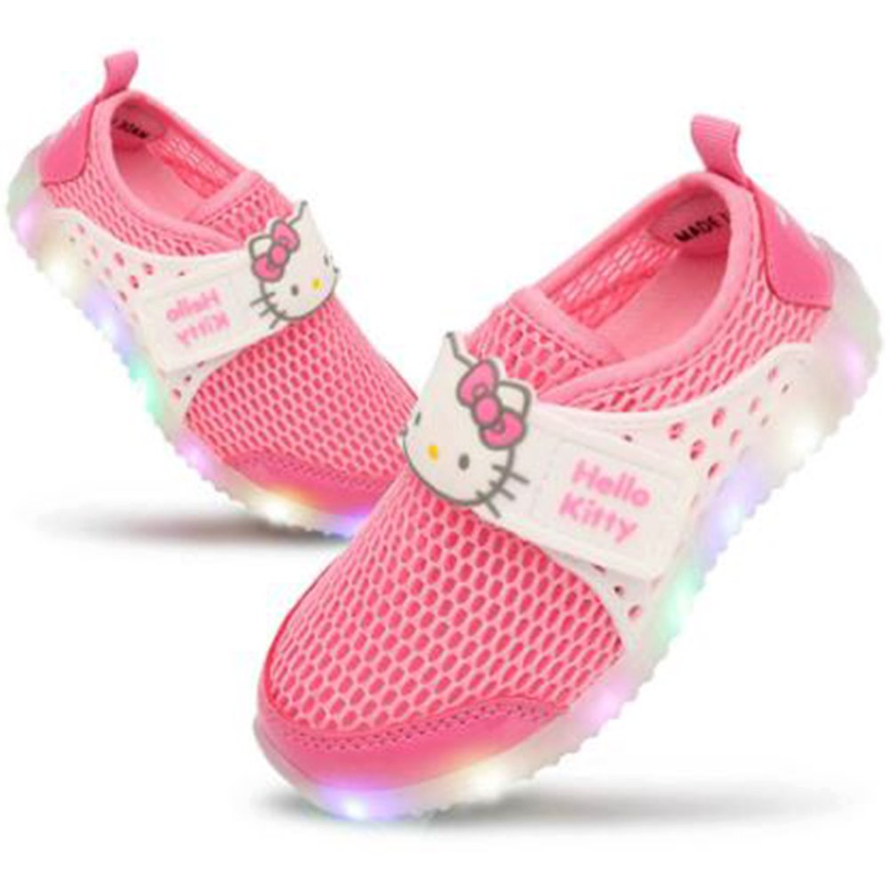 Joah Store Girls LED Light Up Summer Mesh Sneaker Hello Kitty Shoes Parallel Import//Generic Product