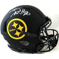 $385 » TJ Watt Autographed Pittsburgh Steelers F/S Eclipse Speed Helmet - Beckett W Auth Silver