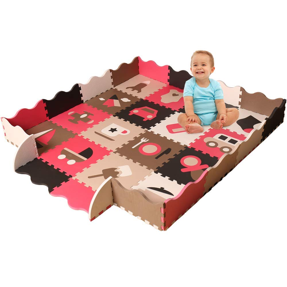 Baby Foam Play Mat with Fence – Interlocking Crawling Mat with 16 Foam Floor Tiles