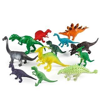 GIKMHYB Giocattolo di Dinosauro per Bambini 12 Pezzi Regalo di Simulazione di Dinosauri di Plastica
