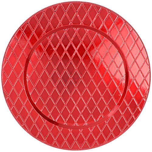 Red Diamond Pattern 13'' Round Plastic Charger Dinner Plates by bogo Brands (Set of 4) by bogo Brands (Image #1)