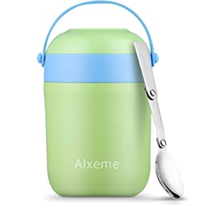 Soup Thermos Food Jar 16 Ounce Handle Vacuum Insulated Lunch Container for Hot Cold Food Alxeme Wide Mouth Thermos Stainless Steel Leak Proof Bento Lunch Box with Spoon – Spearmint