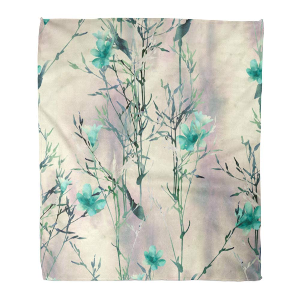 Multi 12 50  W x 60  L Emvency Throw Blanket Warm Cozy Print Flannel Watercolor Nice Little Deer and Flowers The Portrait Head of Forest Animal Comfortable Soft for Bed Sofa and Couch 60x80 Inches
