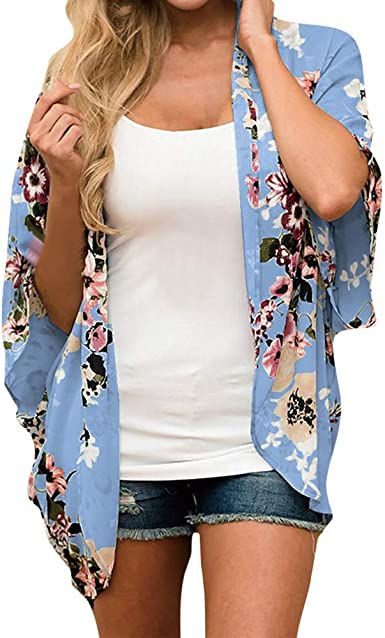 Womens Holiday Floral Cardigan Blouse Ladies Beach Bikini Cover Up Shawl Tops