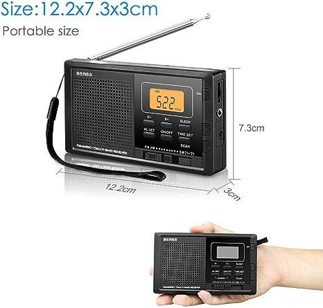 Radio Portatil Pequeña Digital Radio de Bolsillo FM AM SW DSP Transistor Bateria Radio con Altavoz de Sonido Reloj Despertador y Temporizador: Amazon.es: Electrónica