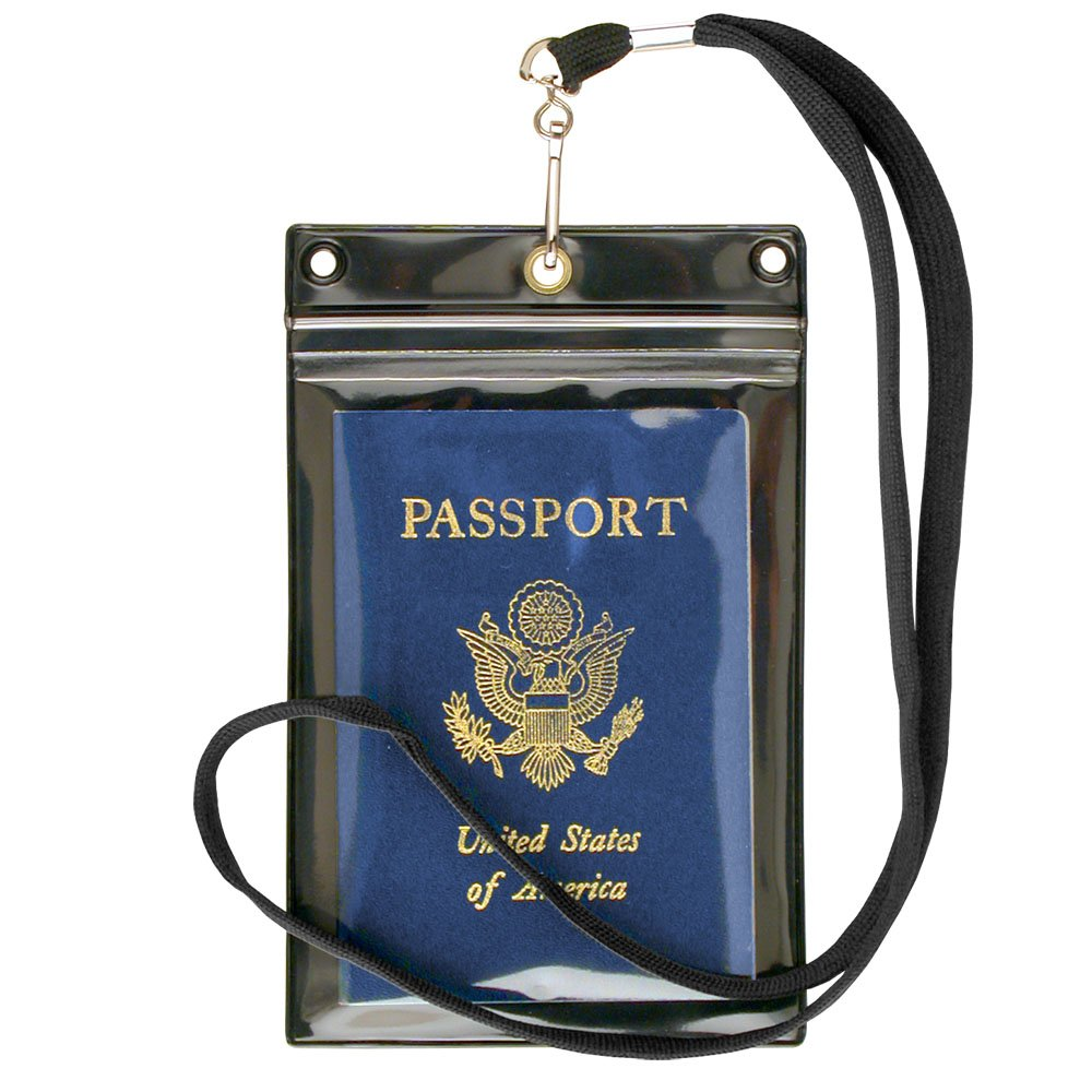 StoreSMART Sport - Zipper Passport Holder with Lanyard 6-Pack - Clear Plastic Front & Black Plastic Back - SPCR1596ZIPS-6 by STORE SMART