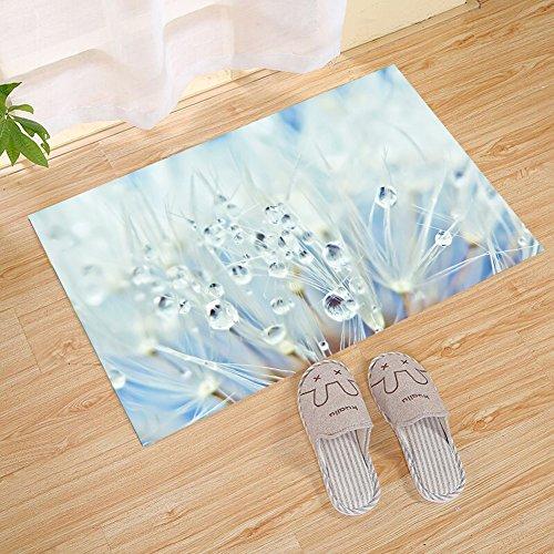 JANNINSE Rainy Weather Dandelion Petals On Crystal Clear Waterdrop Landscape, Indoor Outdoor Carpet Door Mat Super Absorbent Dirt Dirt Catcher Floor Mat Latex Backing Door Mat Interior Floor