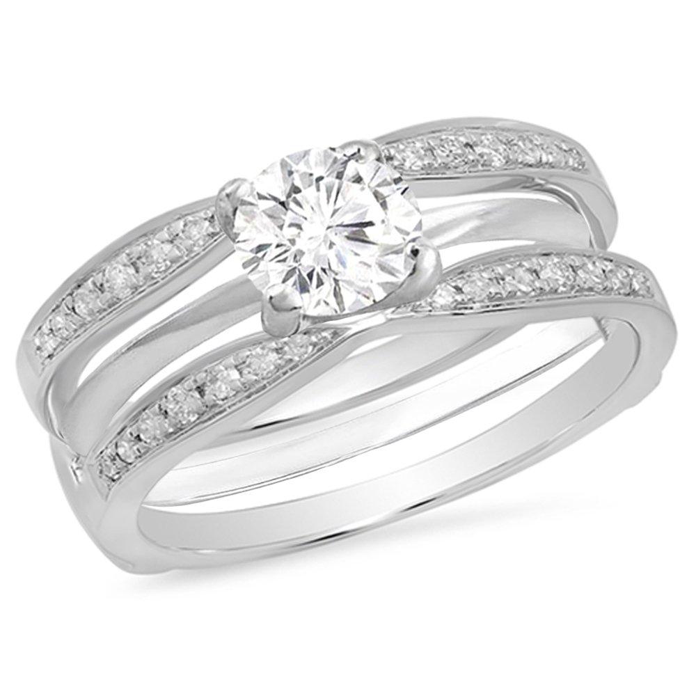 Dazzlingrock Collection 0.22 Carat (ctw) 14K Round Diamond Anniversary Wedding Band Guard Ring 1/4 CT, White Gold, Size 6 by Dazzlingrock Collection (Image #3)