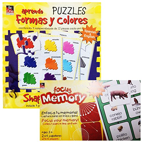 Spanish,English Flash Cards and Puzzles for Kids Easily Learn Different Shapes, Colors And Vocabulary in Two Language by This Fun Flash Cards With Pictures and Early Learning Puzzle Set