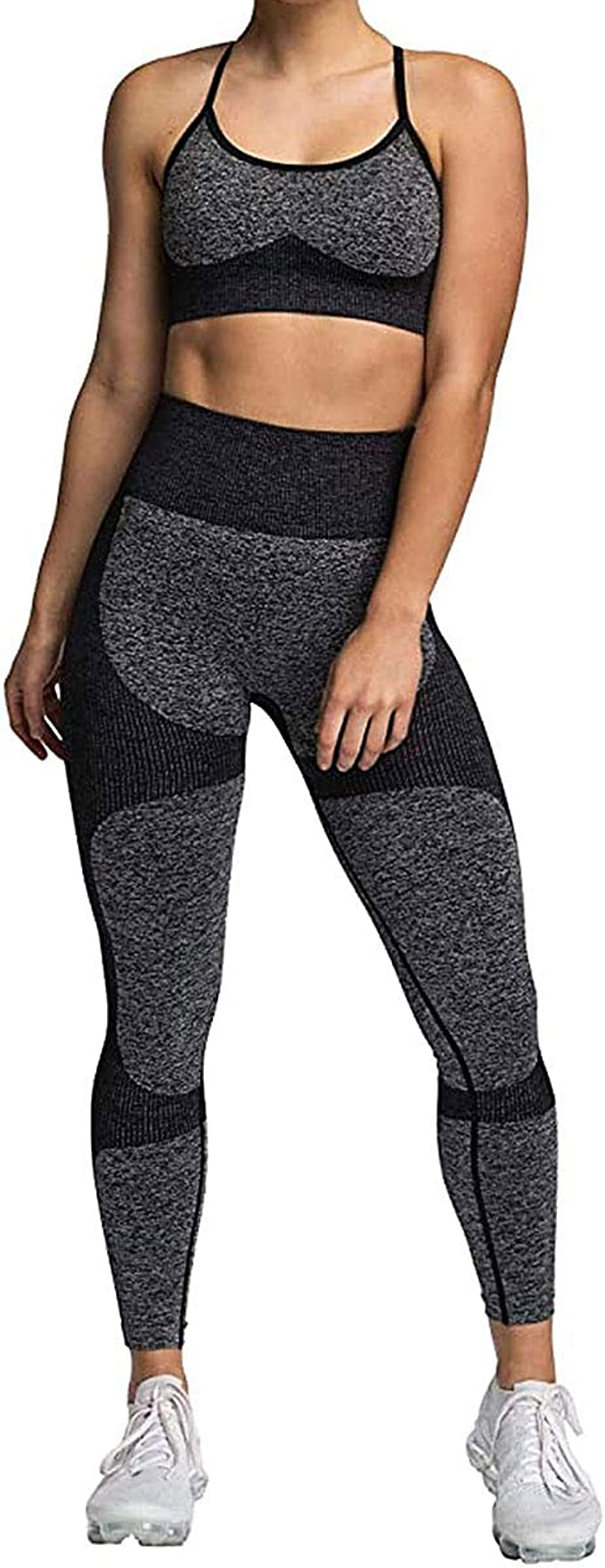Geagodelia Damen Yoga Trainingsanzug Workout Outfit Bunt Blumen 2 Teilig Yoga Leggings High Waist /Ärmellos Crop Top Sport BH Fitness Kleidung Set f/ür Gym Zumba Pilates
