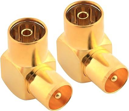 Conector de antena de TV coaxial hembra a macho TV PAL, adaptador coaxial chapado en oro en ángulo recto, adaptador de antena coaxial RF, paquete de 2