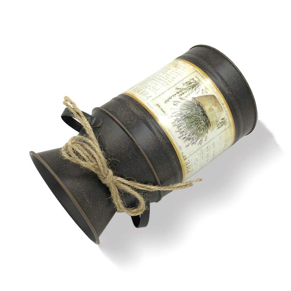 IDoall Jarr/ón Decorativo r/ústico de 19 cm de Alto con dise/ño de Flores y Cuerda para Sala de Estar Jarra de Metal para la Leche Oficina Dormitorio