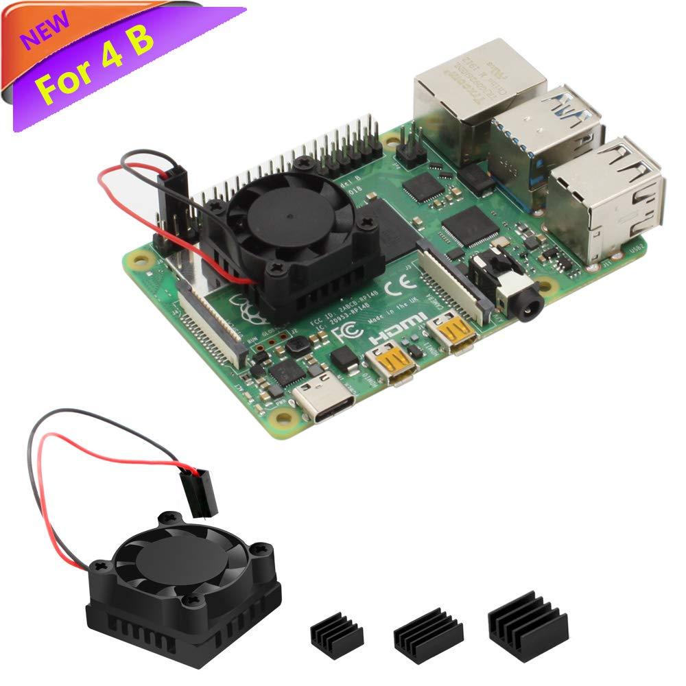 Raspberry Pi 4 Fan, iUniker Raspberry Pi 4 Heatsink Fan Single Fan Cooling Fan and RAM Copper Heatsink for Raspberry Pi 4, Raspberry Pi 4B, Raspberry Pi 4 Model B