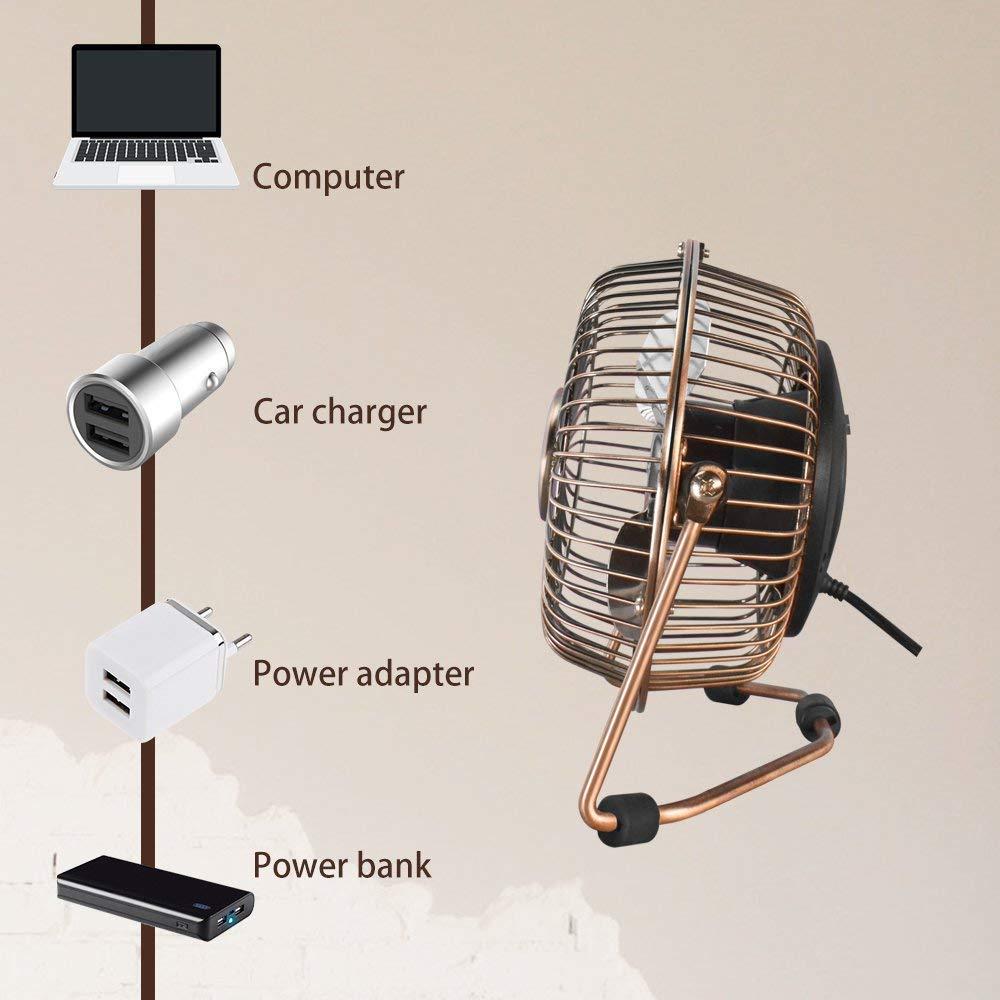 AirArtDeco 4 Pulgadas peque/ño Ventilador USB silencioso para el hogar y la Oficina 10 cm dise/ño met/álico de Abanico de Mesa Personal Mini USB Metal Fan de Escritorio Cromo