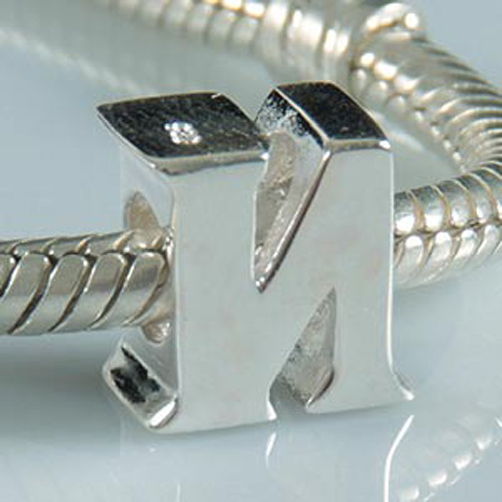Letter N Charm Sterling Silver 925 Initial A-z Alphabet Beads Name Charm for Charms by Amoony Beads (Image #2)