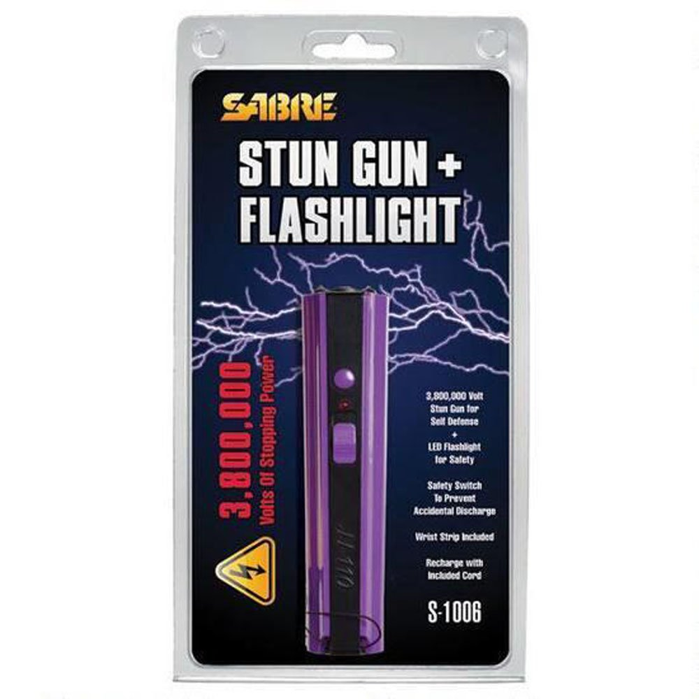 SABRE 3.8 Million Volt Stun Gun with Flashlight Rechargeable Aluminum Purple