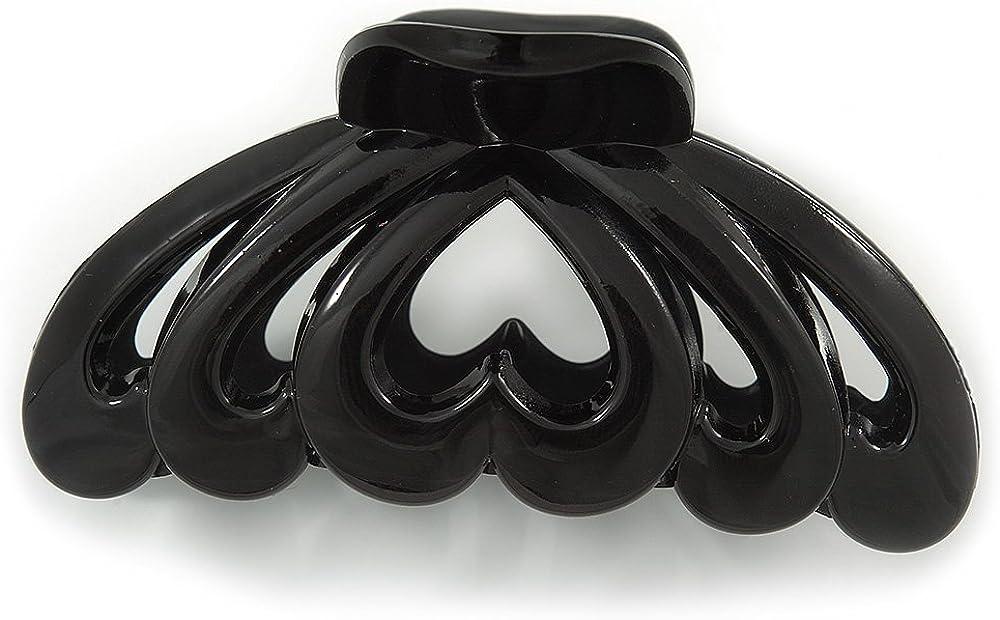 Avalaya Grande Pince /à Cheveux en Acrylique en Forme de c/œur Noir 90 mm de Largeur