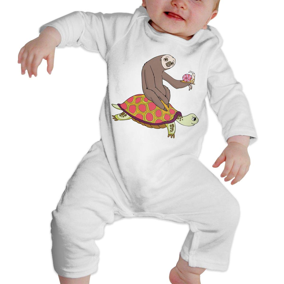 Turtle and Snail Jumpsuit Bodysuit Clothes 100/% Organic Cotton Long Sleeve One-Piece Coverall AucCen Babys Sloth