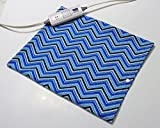 """Replacement Cover for 12"""" x 15"""" Heating Pad ~ Heating Pad Cover ~ Cover Only ~ Blue Dotted Chevron Print"""