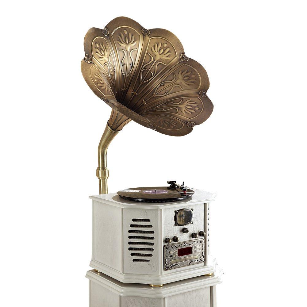 Sitang De vinilo retro tocadiscos jugador vendimia gran cuerno disco de gramófono madera Continental MLG662G