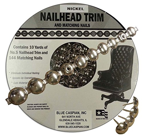 B.C. Upholstery Nailhead Trim with Matching Nails - Nickel - 30 ft